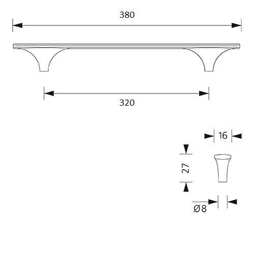 Design-greep Liana - mat zwart - 320/380mm