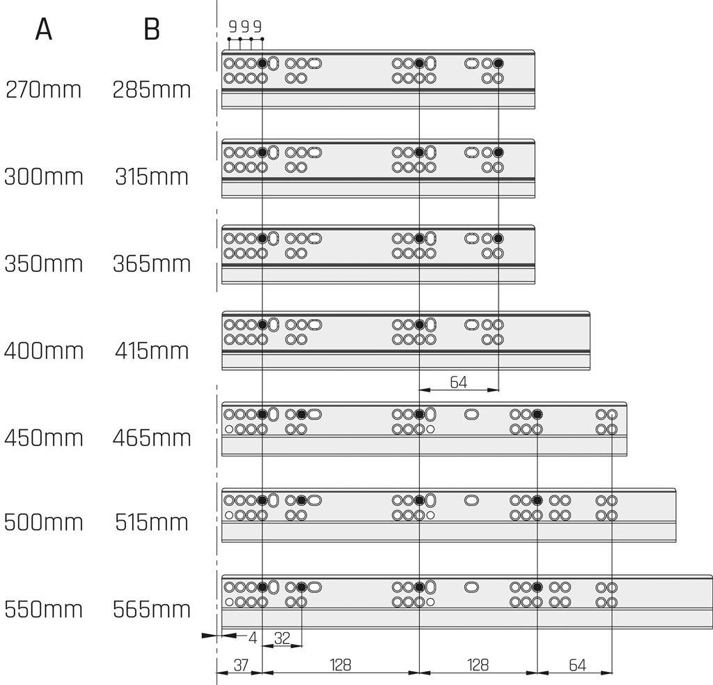 Eurogeleider 40 cm met push to open en 3D verstelbaar/18<br />Per paar