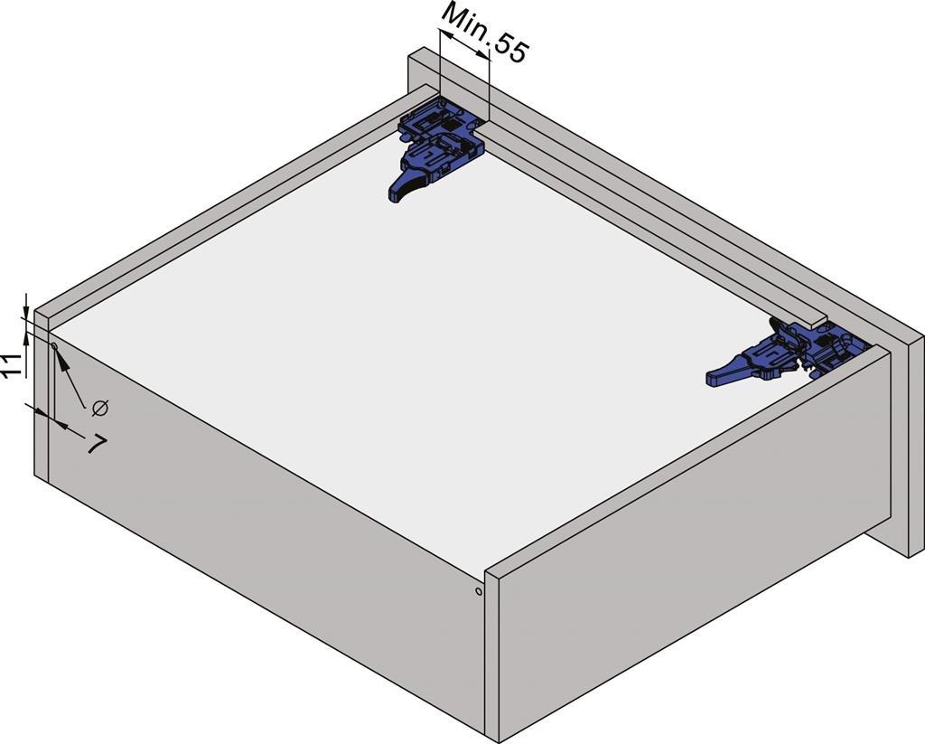 Eurogeleider 45 cm met push to open en 3D verstelbaar/18<br />Per paar