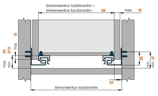 Eurogeleider 50 cm met push to open en 3D verstelbaar/18<br />Per paar