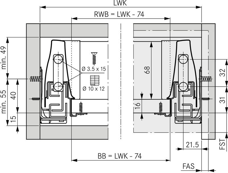 Grass ladeset - hoogte 95 - alumetallic - diepte 350mm<br />Per set