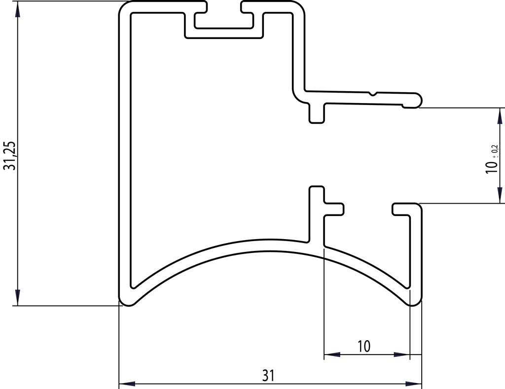 Greeplijst zwart - type A/10mm - 520cm