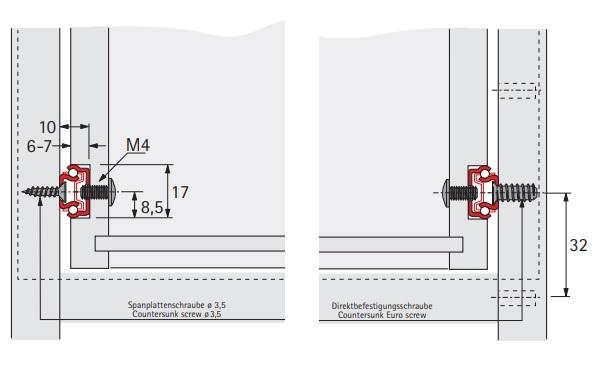 Kogelgeleider 17x10mm - lengte 214mm<br />Per paar