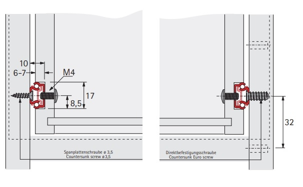 Kogelgeleider 17x10mm - lengte 246mm<br />Per paar