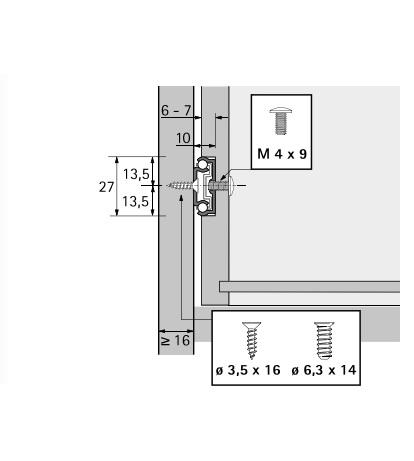 Kogelgeleider 27x10mm - lengte 222mm<br />Per paar