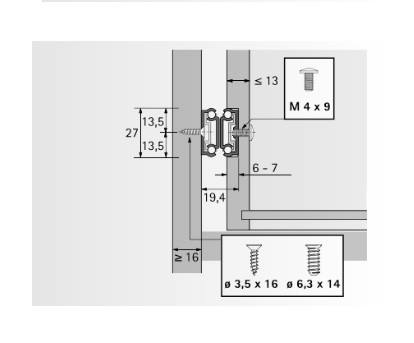 Kogelgeleider 27x20mm - lengte 246mm<br />Per paar