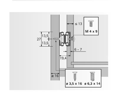 Kogelgeleider 27x20mm - lengte 328mm<br />Per paar