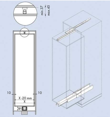 Onder en bovengeleider tbv apothekerskast - lengte 46cm<br />per set