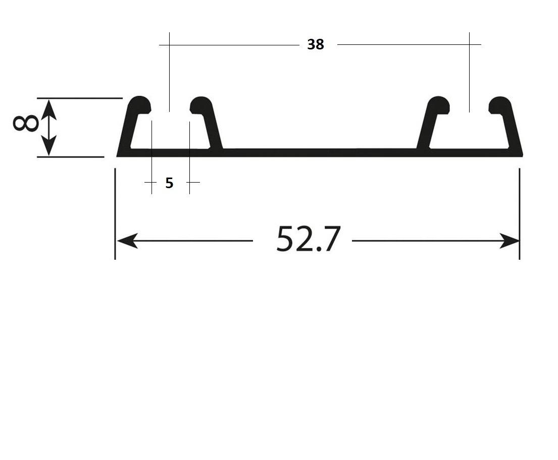 Onderrail zwart - 420cm