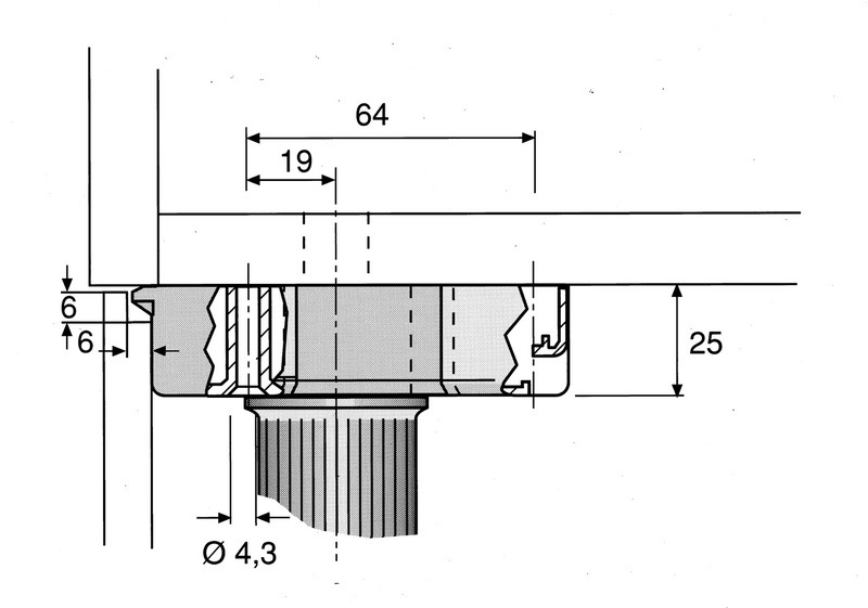Stelpoten tbv keukenkasten - diameter 35mm - hoogte 50mm<br />per stuk