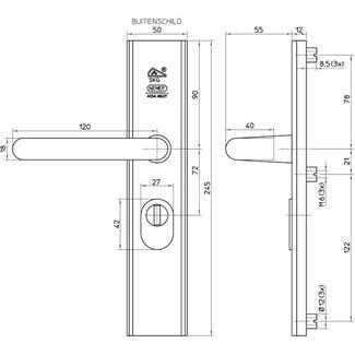 Veiligheidsschild met kerntrekbeveiliging SKG3***PC 72mm<br />Per set