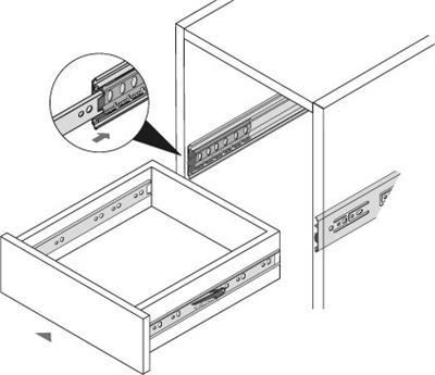 Zijwandmontage kogelgeleiders 45cm - push to open<br />Per paar