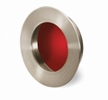 Greep Aboa - Geborsteld edelstaal -  Rood - Diameter 65 mm